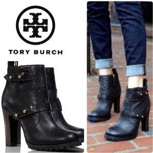 Tory Burch Black Landers Leather Moto ankle Bootie